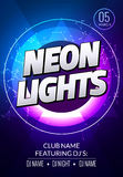 Neon lights party music poster. Electronic club deep music. Musical event disco trance sound. Night party invitation. DJ flyer Royalty Free Stock Photography