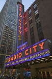 Neon lights of Radio City Music Hall at Rockefeller Center, New York City, New York Royalty Free Stock Image