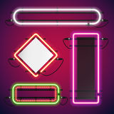 Neon Lights Rectangle Frames Set Royalty Free Stock Photography