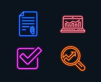 Attachment, Checkbox and Web analytics icons. Analytics sign. Attach file, Approved tick, Statistics. Neon lights. Set of Attachment, Checkbox and Web analytics Stock Photography