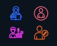 Business growth, Avatar and Woman read icons. Edit user sign. Earnings results, User profile, Girl studying. Neon lights. Set of Business growth, Avatar and Royalty Free Stock Image