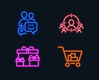 Business targeting, Surprise boxes and Communication icons. Internet shopping sign. Neon lights. Set of Business targeting, Surprise boxes and Communication Royalty Free Stock Photography