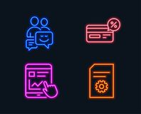 Cashback, Internet report and Communication icons. File settings sign. Neon lights. Set of Cashback, Internet report and Communication icons. File settings sign Stock Photography