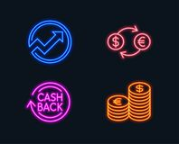 Currency exchange, Audit and Cashback icons. Currency sign. Banking finance, Arrow graph, Refund commission. Neon lights. Set of Currency exchange, Audit and Royalty Free Stock Photos