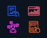 Document, Conversation messages and Marketing statistics icons. Internet report sign. Neon lights. Set of Document, Conversation messages and Marketing Royalty Free Stock Photos