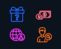 Dollar money, International recruitment and Secret gift icons. Search people sign. Neon lights. Set of Dollar money, International recruitment and Secret gift Stock Photography