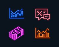 Financial diagram, Usd currency and Discounts icons. Infochart sign. Neon lights. Set of Financial diagram, Usd currency and Discounts icons. Infochart sign Royalty Free Stock Image