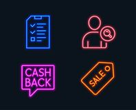 Find user, Money transfer and Interview icons. Sale ticket sign. Neon lights. Set of Find user, Money transfer and Interview icons. Sale ticket sign. Search Royalty Free Stock Images