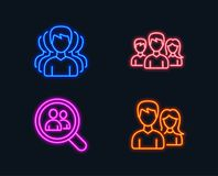 Group, Teamwork and Search employees icons. Couple sign. Headhunting service, Group of users, Staff analysis. Neon lights. Set of Group, Teamwork and Search Royalty Free Stock Image