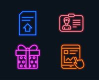 Identification card, Upload file and Gift box icons. Internet report sign. Neon lights. Set of Identification card, Upload file and Gift box icons. Internet Royalty Free Stock Images