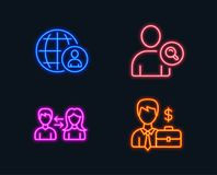 International recruitment, Find user and People communication icons. Businessman case sign. Neon lights. Set of International recruitment, Find user and People Stock Photography