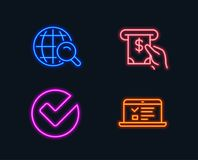Internet search, Verify and Atm service icons. Web lectures sign. Web finder, Selected choice, Cash investment. Neon lights. Set of Internet search, Verify and Royalty Free Stock Photo