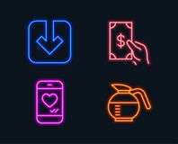 Load document, Receive money and Love chat icons. Coffeepot sign. Download arrowhead, Cash payment, Smartphone. Neon lights. Set of Load document, Receive money Royalty Free Stock Image