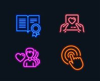 Love mail, Diploma and Man love icons. Click sign. Valentine letter, Document with badge, Romantic people. Neon lights. Set of Love mail, Diploma and Man love Stock Image