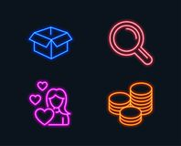 Love, Research and Opened box icons. Tips sign. Woman in love, Magnifying glass, Shipping parcel. Cash coins. Neon lights. Set of Love, Research and Opened box Royalty Free Stock Images