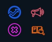 Megaphone, Audit and Close button icons. Search book sign. Advertisement, Arrow graph, Delete or decline. Neon lights. Set of Megaphone, Audit and Close button royalty free illustration