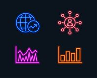 Networking, Investment and World statistics icons. Report diagram sign. Neon lights. Set of Networking, Investment and World statistics icons. Report diagram Stock Images