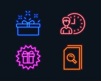 Present box, Working hours and Surprise gift icons. Search files sign. Neon lights. Set of Present box, Working hours and Surprise gift icons. Search files sign Royalty Free Stock Photography