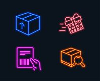 Present delivery, Parcel invoice and Package icons. Search package sign. Neon lights. Set of Present delivery, Parcel invoice and Package icons. Search package Royalty Free Stock Image