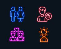 Restroom, Search people and Couple love icons. Education sign. Wc toilet, Find profile, People in love. Neon lights. Set of Restroom, Search people and Couple Royalty Free Stock Photos