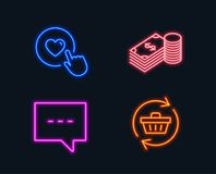 Savings, Blog and Like button icons. Refresh cart sign. Finance currency, Chat message, Press love. Neon lights. Set of Savings, Blog and Like button icons Royalty Free Stock Images