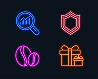 Security, Data analysis and Coffee beans icons. Surprise package sign. Neon lights. Set of Security, Data analysis and Coffee beans icons. Surprise package sign Royalty Free Stock Photo