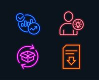Statistics, User idea and Return parcel icons. Download file sign. Neon lights. Set of Statistics, User idea and Return parcel icons. Download file sign. Report Royalty Free Stock Photos