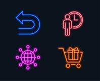Undo, Waiting and International globe icons. Shopping cart sign. Left turn, Service time, World networking. Neon lights. Set of Undo, Waiting and International Royalty Free Stock Image