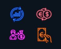 Update data, Sallary and Money exchange icons. Finance sign. Sales chart, Person earnings, Eur to usd. Neon lights. Set of Update data, Sallary and Money Stock Images