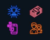 Usd currency, Trophy and Communication icons. Teamwork sign. Buying commerce, Winner cup, Smartphone messages. Neon lights. Set of Usd currency, Trophy and Royalty Free Stock Photos