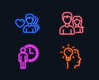 Waiting, Man love and Couple icons. Idea sign. Service time, Romantic people, Male and female. Neon lights. Set of Waiting, Man love and Couple icons. Idea sign royalty free illustration