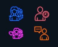 Woman love, Time management and Women headhunting icons. Users chat sign. Neon lights. Set of Woman love, Time management and Women headhunting icons. Users vector illustration