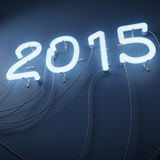 Neon lights shaped in form of number 2015 Stock Photography