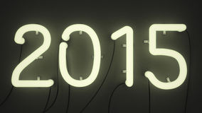 Neon lights shaped in form of number 2015. 3 D render of neon lights shaped in form of number 2015. Neon lights are illuminated and radiating greenish glow and Royalty Free Stock Image