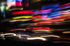 Neon lights on the streets of New York City stock photos