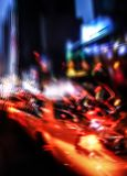 Neon lights on the streets of New York City royalty free stock photos