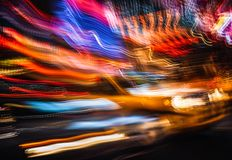 Neon lights on the streets of New York City royalty free stock photography