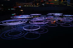 Neon lights on the surface of the water Stock Photos