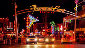 Neon Lights and Traffic at Freemont Street in Las Vegas Stock Photos