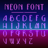 Neon linear font with 80s New Retro Wave trendy hipster style Stock Photography