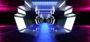 Neon Lines Futuristic Purple  Sci Fi Spaceship Glowing White Blue Metal Reflective Concrete Floor Corridor Tunnel Hallway Entrance Stock Image