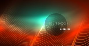 Neon lines wave background. Abstract composition. Neon lines wave background. Vector abstract composition stock illustration