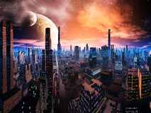 Neon Lit Cityscape on Distant World stock illustration