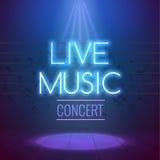 Neon-Live Music Concert Acoustic Party-Plakat-Hintergrund-Schablone mit Scheinwerfer und Stadium stock abbildung