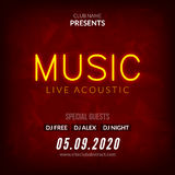 Neon Live Music Concert Acoustic Party Poster Background Template with neon text sign flyer stock illustration