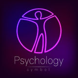 Neon Logo Modern man Sign of Psychology. Human in a circle. Creative style. Icon in vector. Design concept. Brand. Company. Violet color isolated on blur Royalty Free Stock Photo