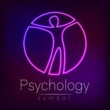Neon-Logo Modern-Mann Zeichen von Psychologie Mensch in einem Kreis Kreative Art Ikone im Vektor Konzept des Entwurfes marke Lizenzfreies Stockfoto