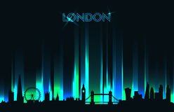 Neon London skyline detailed silhouette Stock Photography