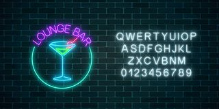 Neon lounge cocktails bar sign with alphabet. Glowing gas advertising with glasses of alcohol shake. Neon lounge cocktails bar sign with alphabet on dark brick royalty free illustration