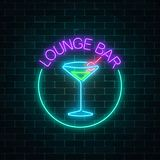 Neon lounge cocktails bar sign on dark brick wall background. Glowing gas advertising with glasses of alcohol shake. Drinking canteen banner. Night club Royalty Free Illustration